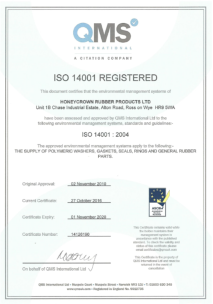 Honeycrown Rubber Products Ltd - BS EN ISO 14001:2004 environmental management systems accreditation