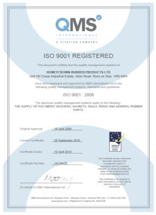 Honeycrown Rubber Products Ltd - BS EN ISO 9001:2008 management systems accreditation